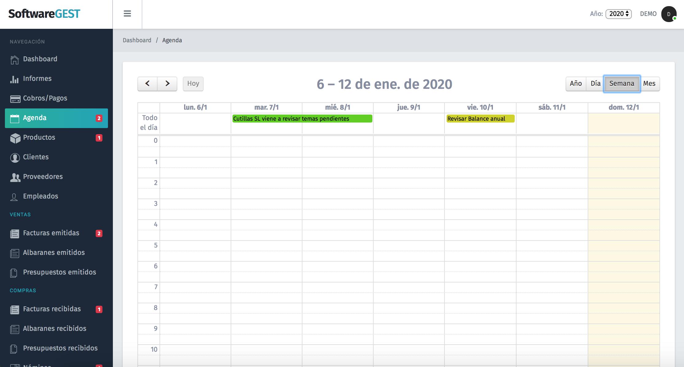 SoftwareGEST editar Agenda