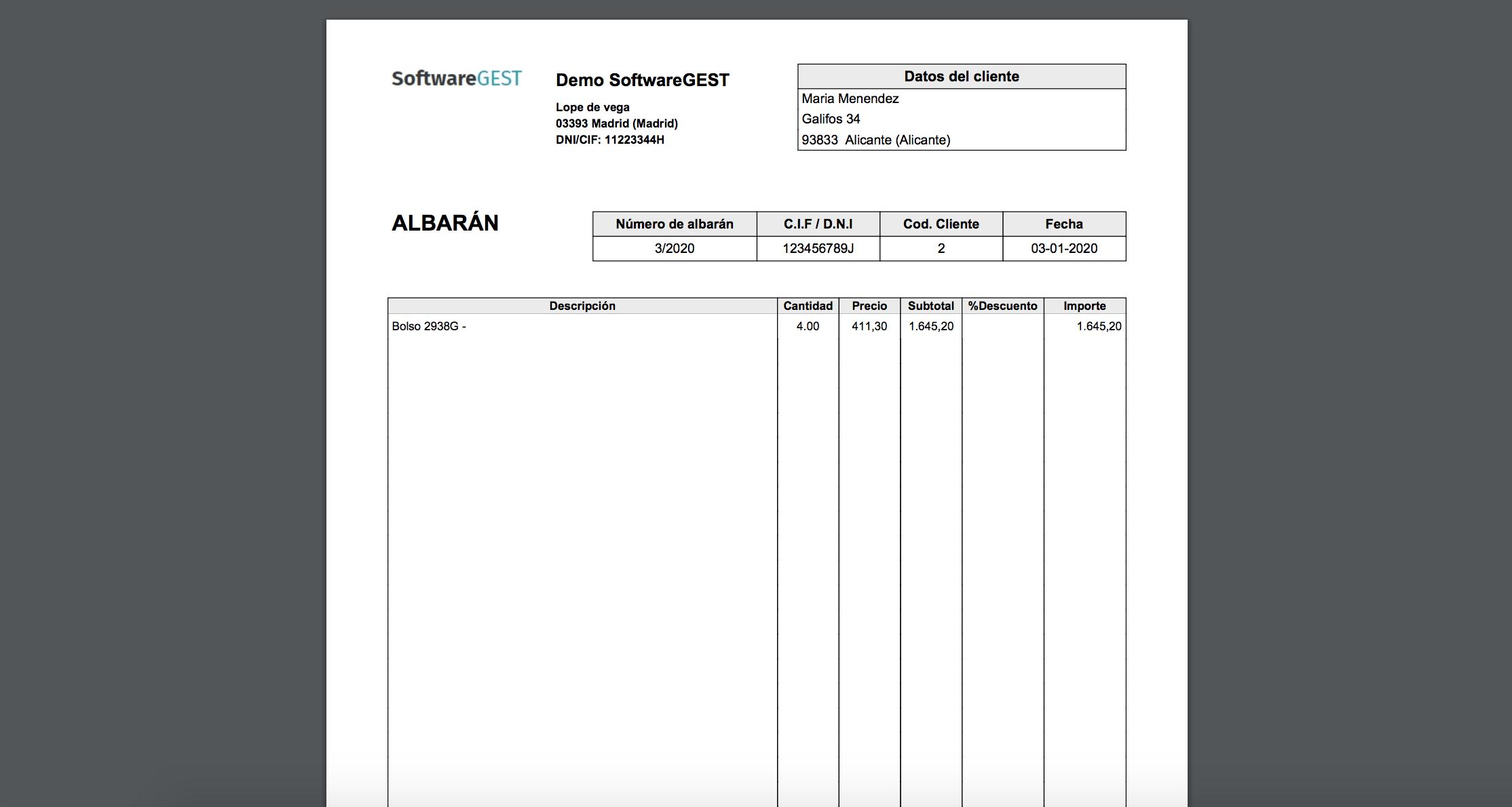 SoftwareGEST Albaranes emitidos pdf