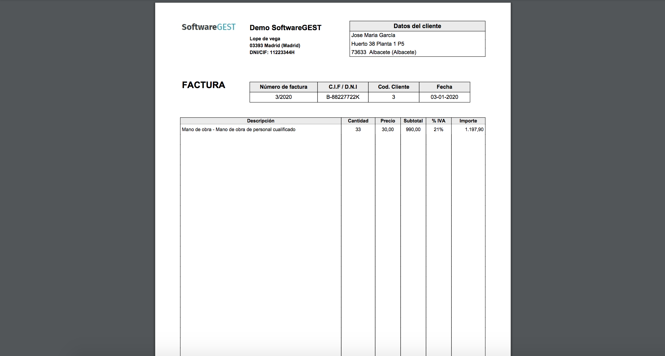 SoftwareGEST Facturas emitidas pdf