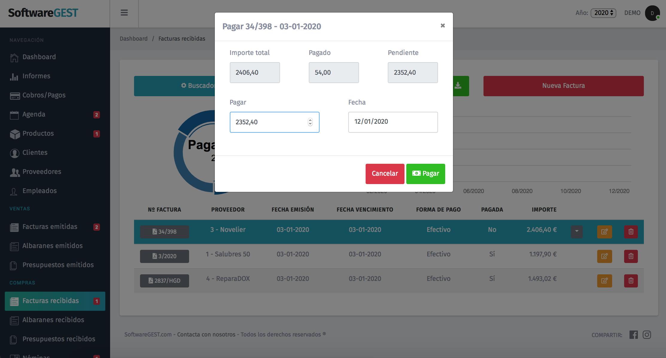 SoftwareGEST Facturas recibidas cobrar