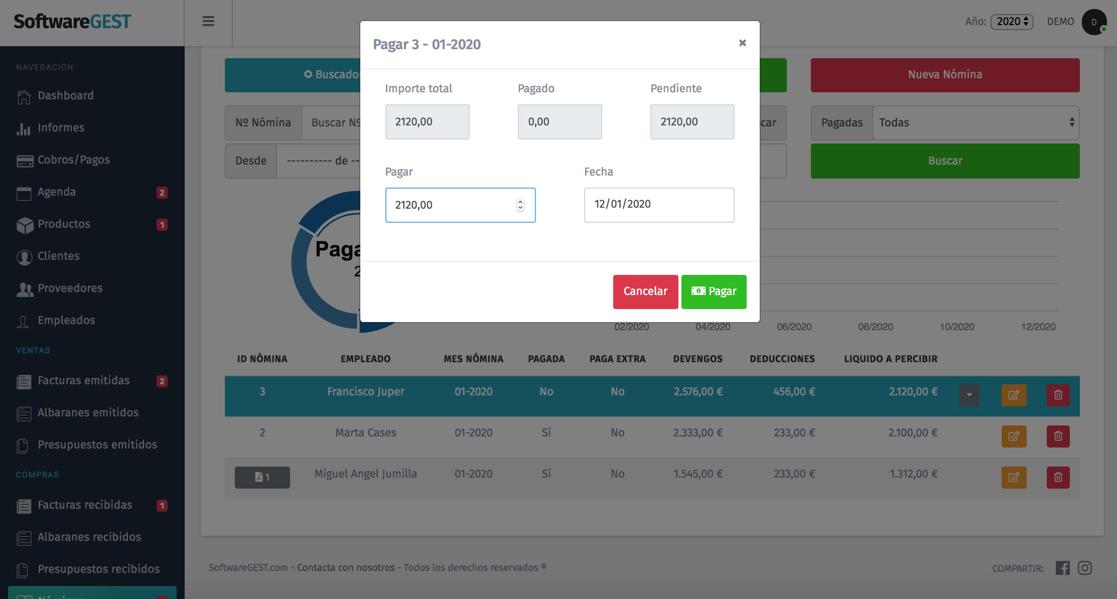 SoftwareGEST pagar nominas