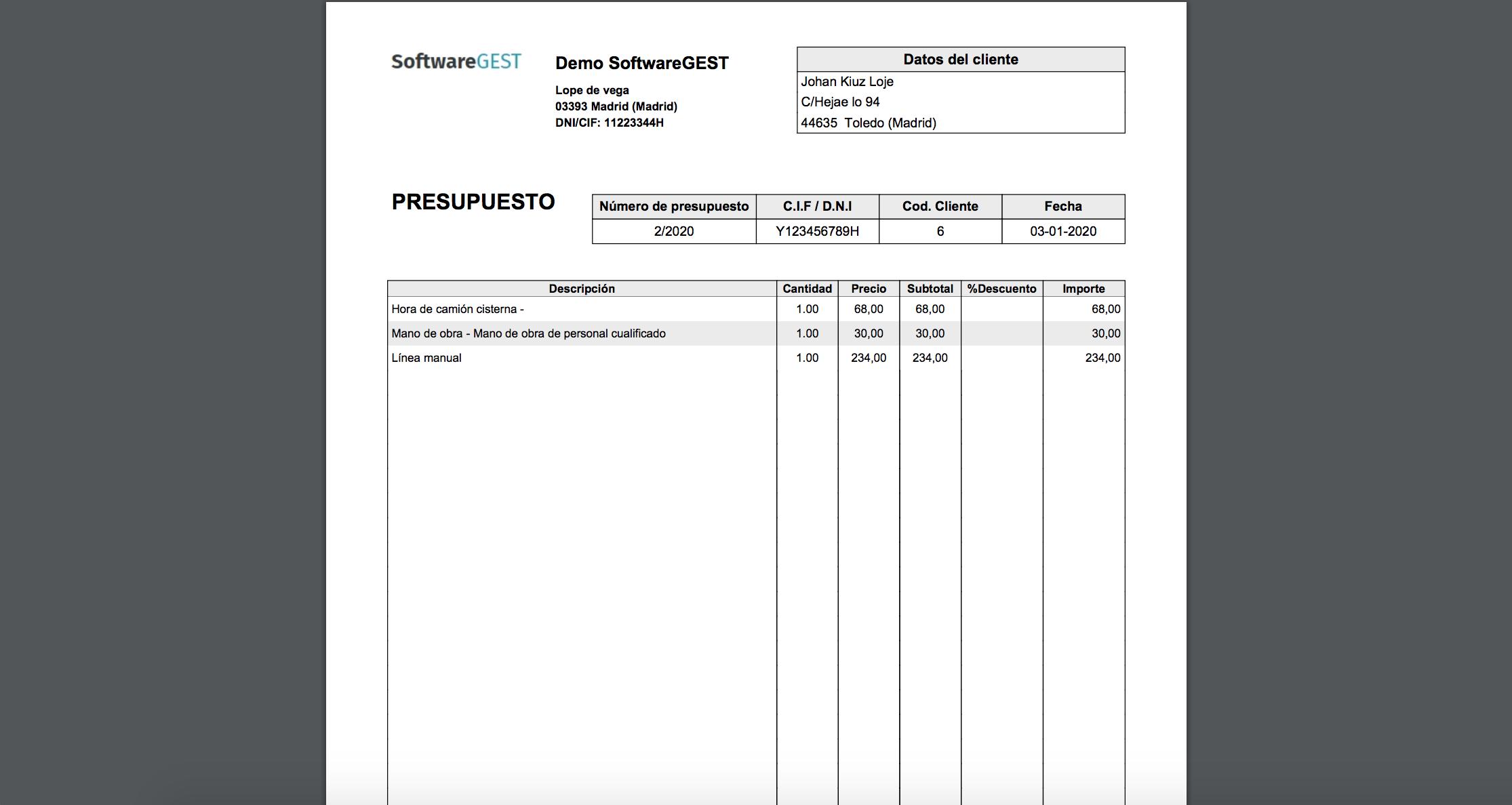 SoftwareGEST presupuestos emitidos pdf