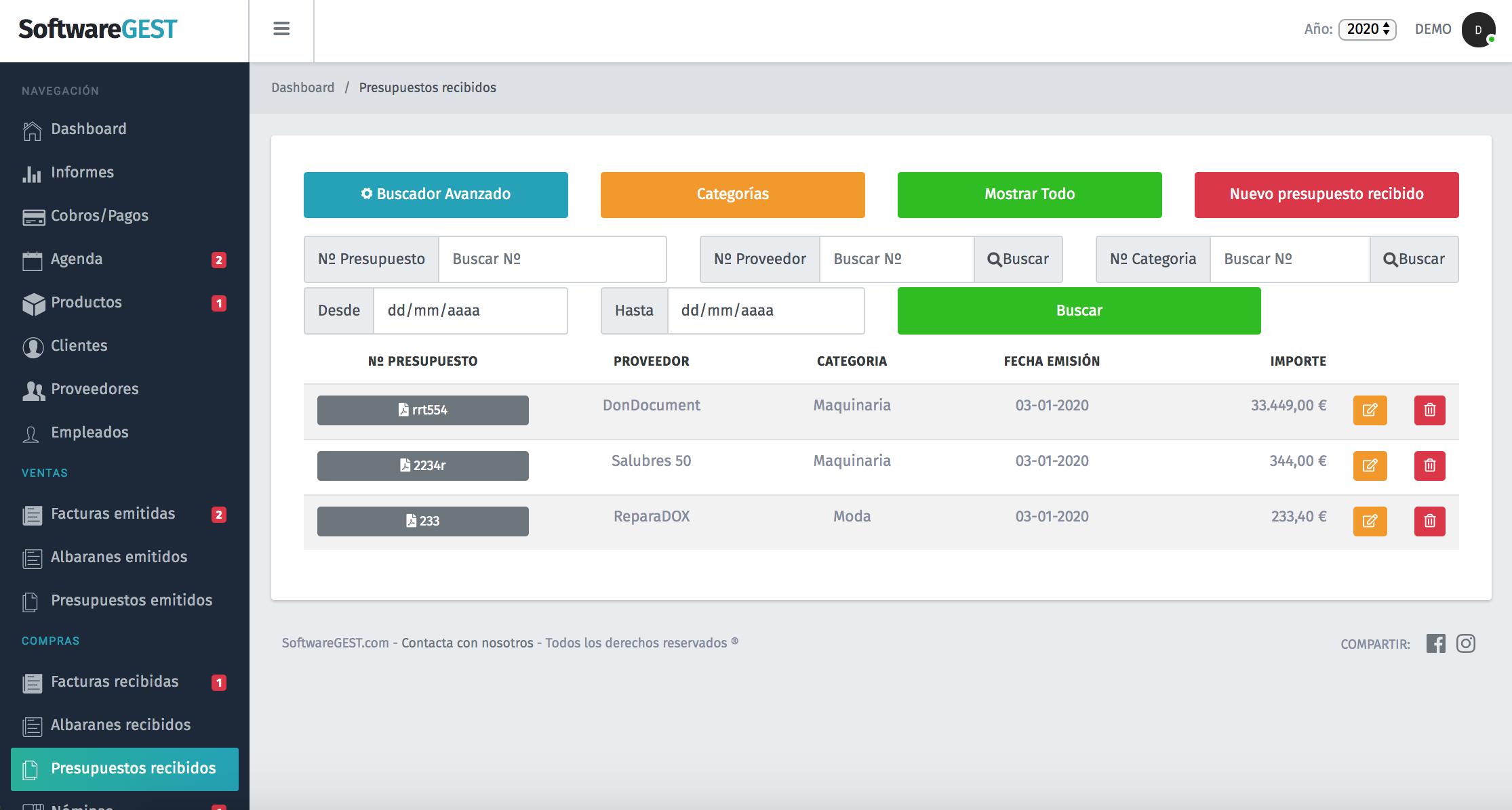 SoftwareGEST Presupuestos recibidos filtro