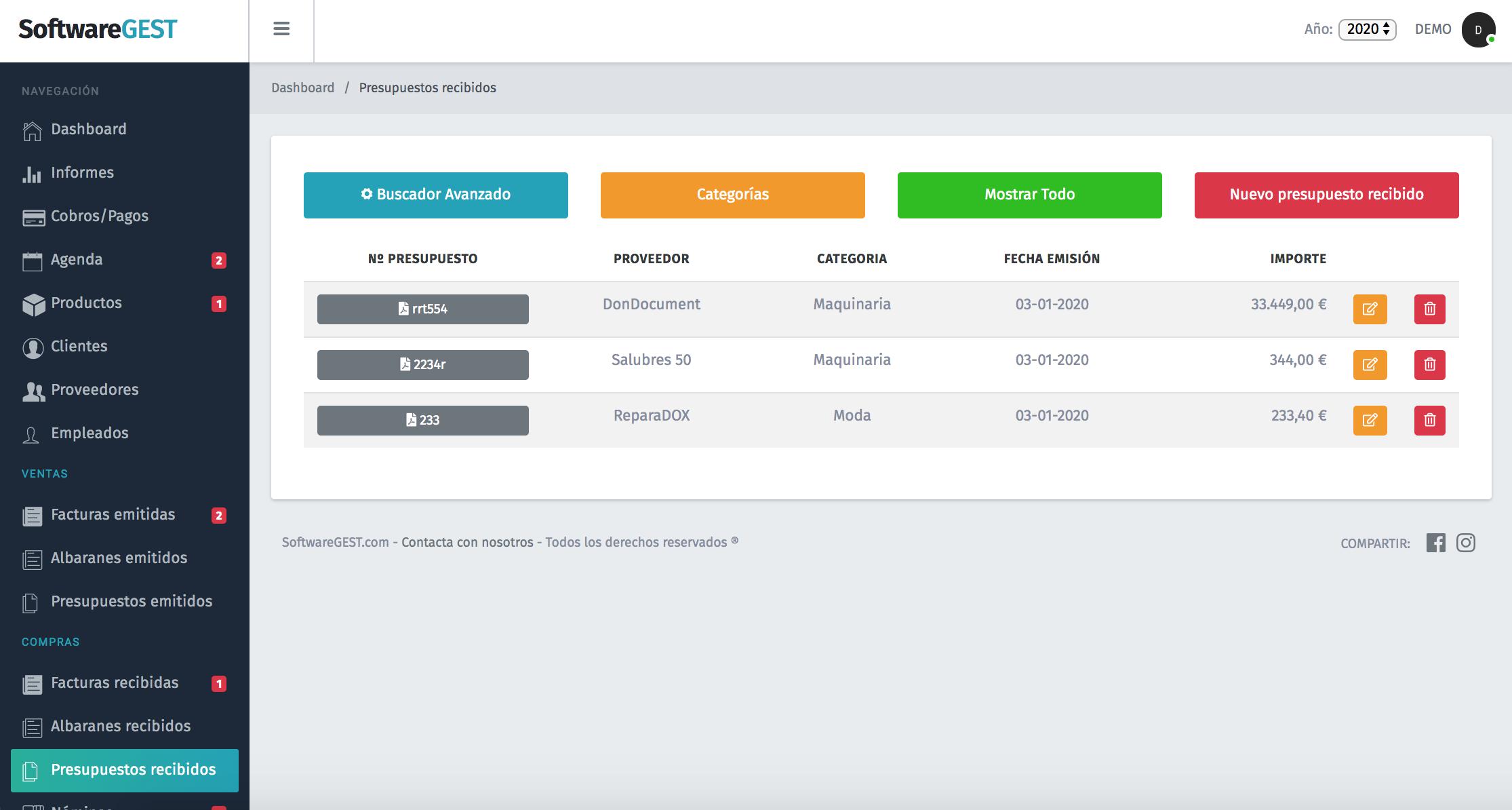 Presupuestos recibidos en softwaregest